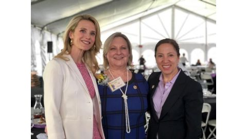 Pictured left to right: First Partner Jennifer Siebel Newsom, AMOR Executive Director Davena Witcher, Lieutenant Governor Eleni Kounalakis.