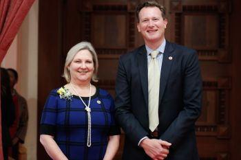 Pictured: AMOR Executive Director Davena Witcher, Senator Andreas Borgeas