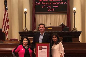 Pictured from left to right: Lisa Casarez, Sen. Borgeas, Gloria Canales